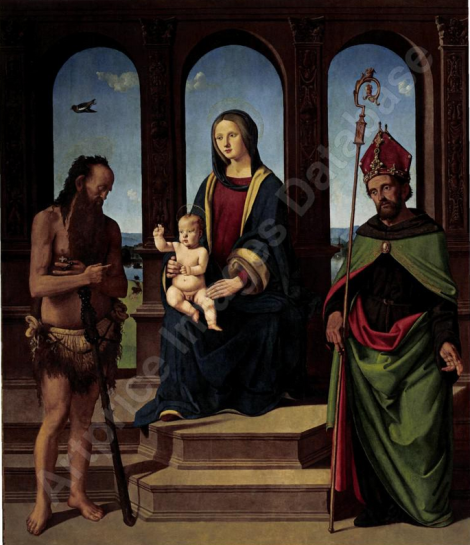 The Madonna and Child Enthroned with Saints Onophrius and Augustine par PIERO DI COSIMO