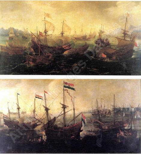 La flotte Hollandaise à l'ancre dans un port du nord La Bataille de Lépante, en 1591