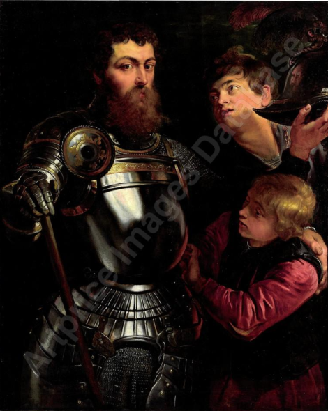 Rubens - Portrait of a commander, three-quarter-length, being armed for battle